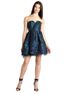 A.B.S. by Allen Schwartz navy and green 'Blue Lagoon' shimmer jacquard straples party dress