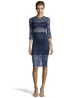 A.B.S. by Allen Schwartz navy lace faux leather trimmed illusion cutout dress