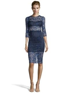 A.B.S. by Allen Schwartz navy lace faux leather trimmed illusion cutout dress