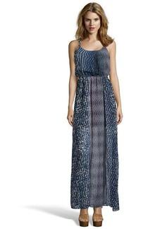 A.B.S. by Allen Schwartz navy printed chiffon thigh high slit maxi dress