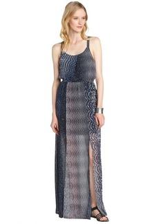 A.B.S. by Allen Schwartz navy stretch printed thigh high slit maxi dress