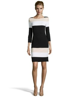 A.B.S. by Allen Schwartz nude and black colorblock stretch crepe 3/4 sleeve dress