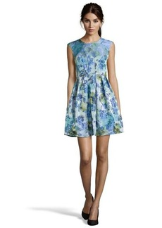 A.B.S. by Allen Schwartz ocean blue and green stretch jacquard floral pattern sleeveless dress