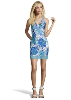 A.B.S. by Allen Schwartz ocean blue and silver floral printed woven halter dress