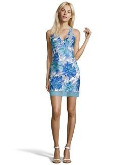 A.B.S. by Allen Schwartz ocean blue and silver floral printed woven halter dress