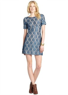 A.B.S. by Allen Schwartz ocean blue lace short sleeve dress