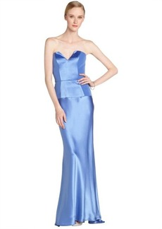A.B.S. by Allen Schwartz ocean blue stretch strapless gown