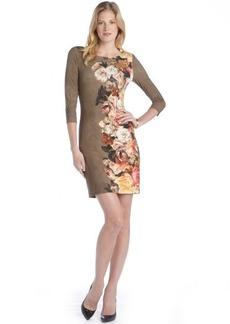 A.B.S. by Allen Schwartz olive floral print three-quarter t-shirt dress