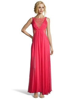 A.B.S. by Allen Schwartz peony silk chiffon and lace illusion gown