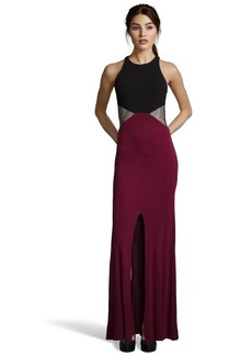 A.B.S. by Allen Schwartz raisin and black stretch colorblock lace accented evening gown