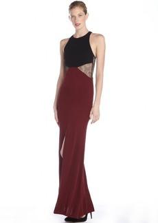 A.B.S. by Allen Schwartz raisin and black woven colorblock lace waist cutout halter gown