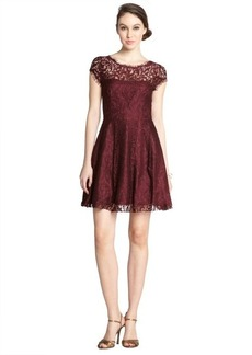 A.B.S. by Allen Schwartz raisin lace crewneck cap sleeve flounce dress