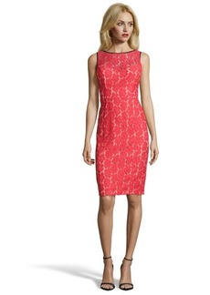 A.B.S. by Allen Schwartz red and nude floral lace woven fitted dress