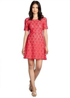 A.B.S. by Allen Schwartz red cotton blend lace short sleeve dress