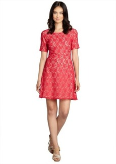 A.B.S. by Allen Schwartz red cotton blend lace short sleeve dress