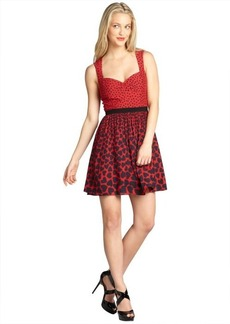 A.B.S. by Allen Schwartz red sleeveless polka dot and heart print day dress