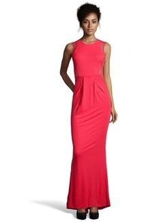 A.B.S. by Allen Schwartz red stretch jersey mesh detailed evening gown