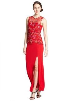 A.B.S. by Allen Schwartz red stretch sequin embellished thigh high split maxi dress