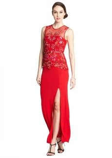 A.B.S. by Allen Schwartz red stretch sequin embellished thigh high split sleeveless maxi dress