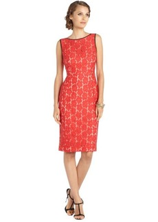 A.B.S. by Allen Schwartz red woven floral lace fitted dress with black trim