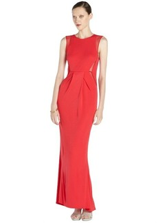 A.B.S. by Allen Schwartz red woven pleated long dress with illusion mesh insets