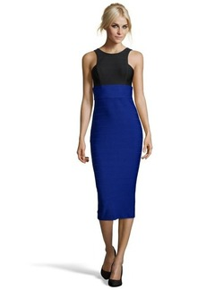 A.B.S. by Allen Schwartz royal blue and black stretch body-con dress