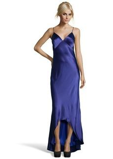 A.B.S. by Allen Schwartz sapphire satin slip lace detailed gown with hi-lo hemline
