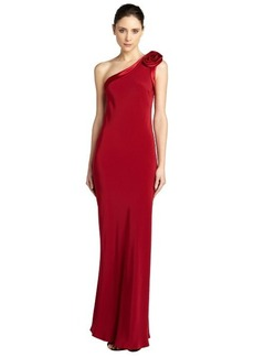 A.B.S. by Allen Schwartz scarlet one shoulder rose open back gown