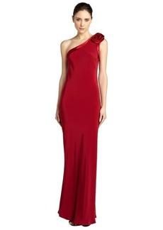 A.B.S. by Allen Schwartz scarlet one shoulder rose open back gown