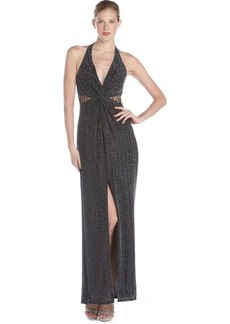 A.B.S. by Allen Schwartz silver and black lurex and lace racer back halter gown