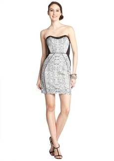 A.B.S. by Allen Schwartz silver stretch embossed snakeskin print faux leather trimmed strapless mini dress