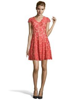 A.B.S. by Allen Schwartz tangerine stretch lace detailed cap sleeve dress