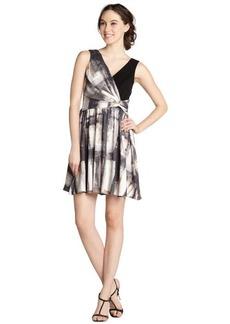 A.B.S. by Allen Schwartz taupe watercolor print v-neck sleeveless dress