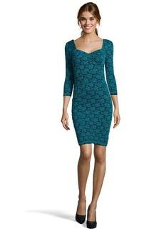 A.B.S. by Allen Schwartz teal knit floral lace sheath dress