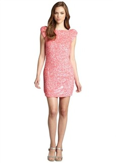 A.B.S. by Allen Schwartz watermelon cap sleeve sequin cutout back party dress