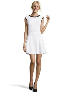 A.B.S. by Allen Schwartz white and black colorblock cap sleeved textured dress