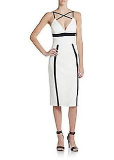 ABS Colorblock Cross-Front Dress