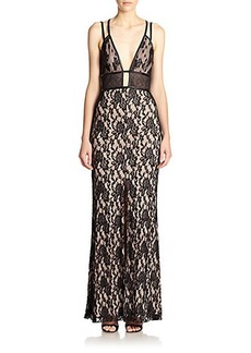 ABS Faux Leather-Trim Stretch Lace Gown