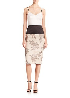 ABS Floral Colorblock Sheath