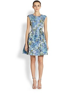 ABS Floral-Print Party Dress