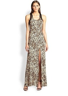 ABS Mesh-Back Leopard Gown