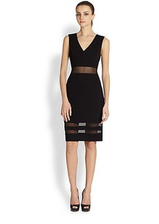ABS Mesh-Striped Jersey Cocktail Dress
