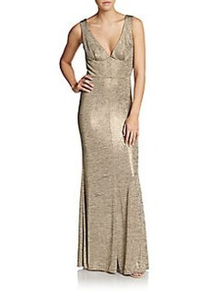 ABS Metallic Jersey Gown