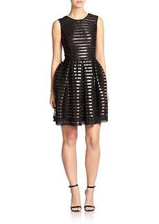 ABS Metallic-Stripe Flared Dress