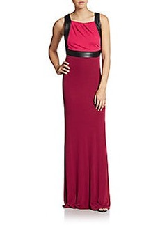 ABS Two-Tone Open-Back Jersey Gown