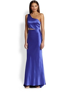 ABS Satin One-Shoulder Cutout Gown