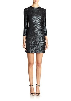 ABS Sequined Sheer-Back Sheath