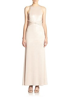ABS Sheer-Paneled Gown