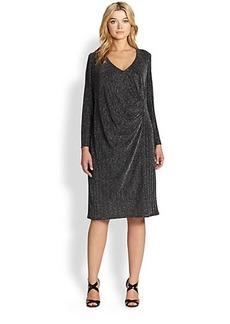 ABS, Sizes 14-24 Draped Metallic Herringbone Dress