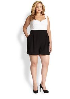 ABS, Sizes 14-24 Eyelet Short Jumpsuit